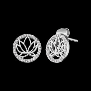ENGELSRUFER SILVER LOTUS CIRCLE CZ STUD EARRINGS