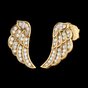 ENGELSRUFER GOLD CZ WING STUD EARRINGS