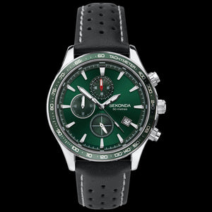 SEKONDA MEN'S GREEN DIAL CHRONO BLACK LEATHER WATCH