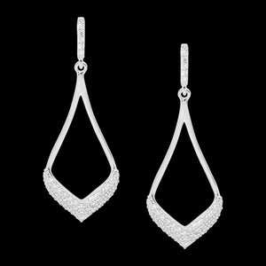 ELLANI STERLING SILVER OPEN TEARDROP PAVE DROP EARRINGS