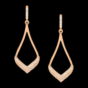 ELLANI STERLING SILVER ROSE GOLD OPEN TEARDROP PAVE DROP EARRINGS