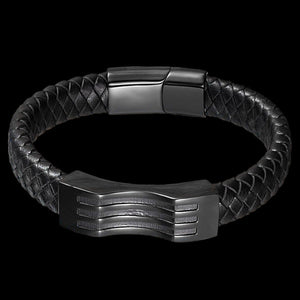 MAXIMAN RAIDER MEN'S BLACK LEATHER BRACELET - TOP VIEW