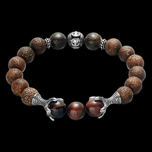 MAXIMAN DRAGON'S GRASP MEN'S TIGER EYE BEAD BRACELET
