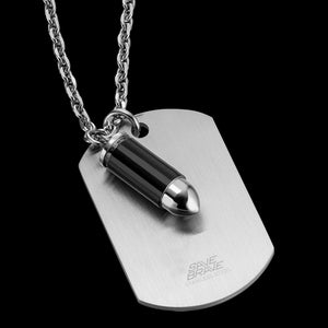 SAVE BRAVE MEN'S MILAN SILVER BULLET DOGTAG NECKLACE