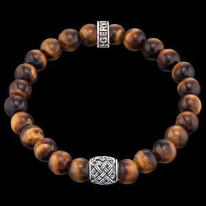 SAVE BRAVE MEN'S SILVER TIGER EYE CELTIC KNOT BRACELET
