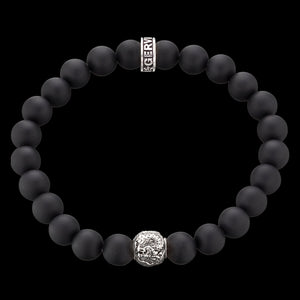SAVE BRAVE MEN'S SILVER BLACK ONYX DRAGON BRACELET