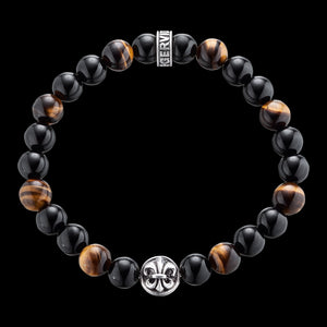 SAVE BRAVE MEN'S SILVER TIGER EYE & BLACK ONYX FLEUR-DE-LIS BRACELET