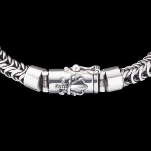 SAVE BRAVE MEN'S STERLING SILVER DRAGON SWORD BRACELET - CLASP CLOSE-UP