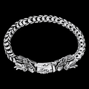 SAVE BRAVE MEN'S STERLING SILVER HYDRA DRAGON HEADS SWORD BRACELET