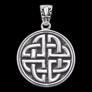 SAVE BRAVE MEN'S SILVER VIKING SHIELD KNOT PENDANT