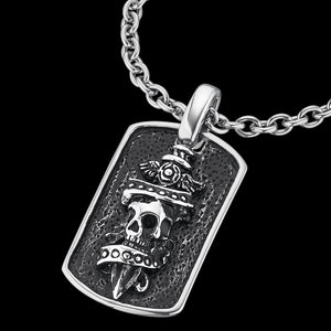 SAVE BRAVE MEN'S JACK SKULL & DAGGER DOG TAG NECKLACE - CLOSE-UP
