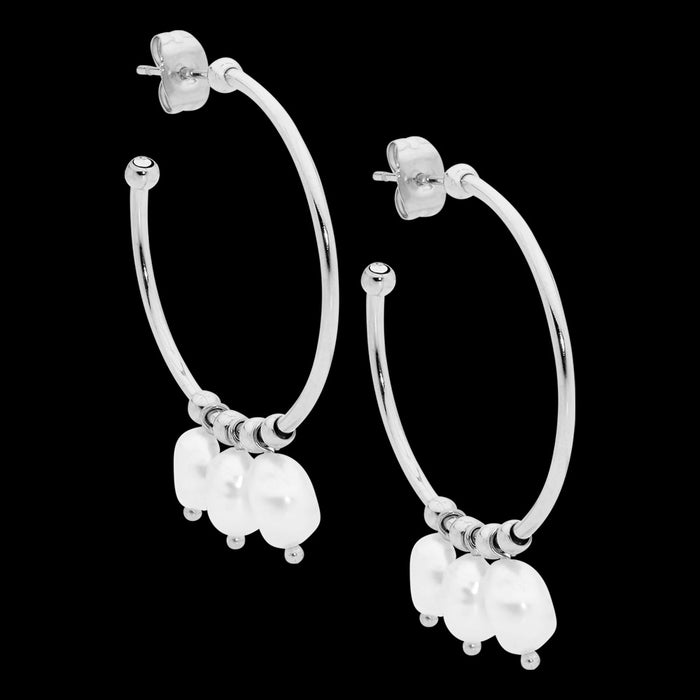 ELLANI STAINLESS STEEL 30MM PEARL DANGLES HOOP EARRINGS