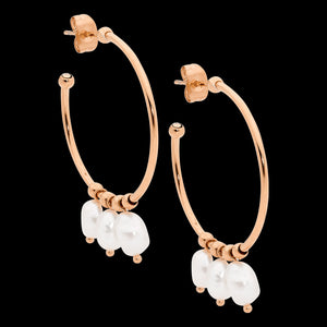 ELLANI STAINLESS STEEL GOLD 30MM PEARL DANGLES HOOP EARRINGS