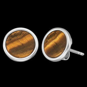 ENGELSRUFER SILVER TIGER EYE POWER STONE STUD EARRINGS