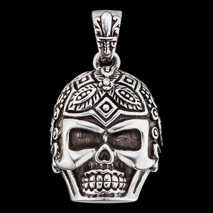 SAVE BRAVE MEN'S SILVER SUGAR SKULL PENDANT