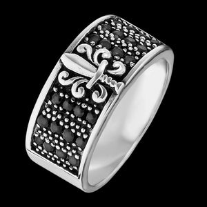 SAVE BRAVE MEN'S SILVER FLEUR-DE-LIS BLACK CZ RING