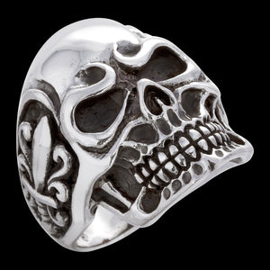 SAVE BRAVE MEN'S SILVER SKULL FLEUR-DE-LIS RING