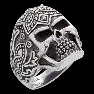 SAVE BRAVE MEN'S SILVER SUGAR SKULL RING
