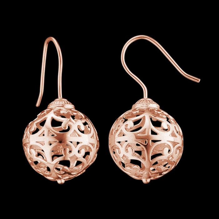 ENGELSRUFER ROSE GOLD CAGE BALL HOOK EARRINGS