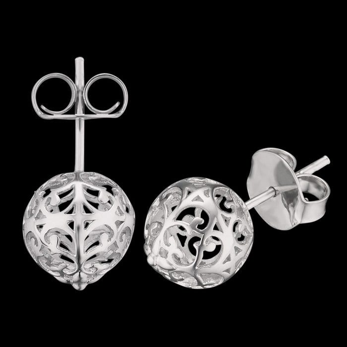 ENGELSRUFER SILVER CAGE BALL STUD EARRINGS