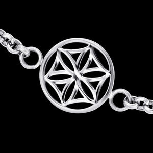ENGELSRUFER STEEL FLOWER OF LIFE ANKLET - CLOSE-UP
