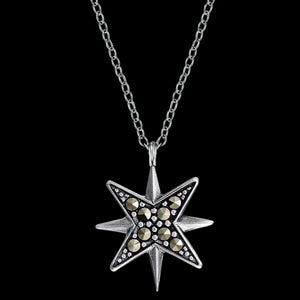 ENGELSRUFER SILVER MARCASITE STAR  NECKLACE - CLOSE-UP