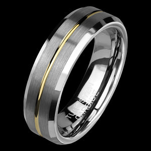 TUNGSTEN CARBIDE MEN'S GOLD GROOVE BRUSHED 6MM BAND RING