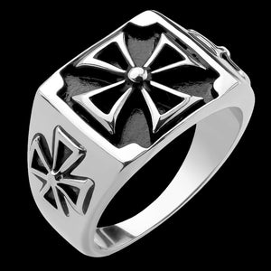 STAINLESS STEEL MEN'S IRON CROSS SIGNET RING
