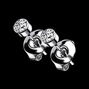TITANIUM IMPLANT-GRADE CZ BEZEL STUD EARRINGS