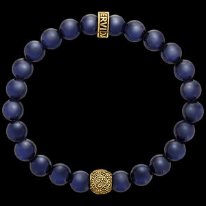 SAVE BRAVE MEN'S GOLD BLUE TIGER EYE OM BRACELET