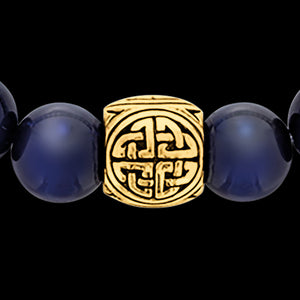 SAVE BRAVE MEN'S GOLD BLUE TIGER EYE VIKING SHIELD KNOT BRACELET - CLOSE-UP