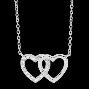 ELLANI STERLING SILVER INTERLOCKING CZ HEARTS NECKLACE