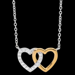 ELLANI STERLING SILVER GOLD INTERLOCKING CZ HEARTS NECKLACE
