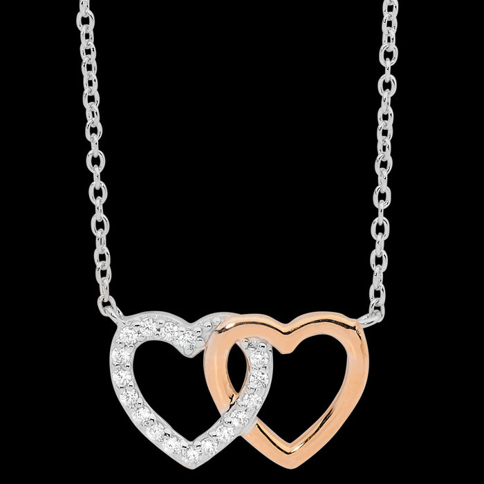 ELLANI STERLING SILVER ROSE GOLD INTERLOCKING CZ HEARTS NECKLACE