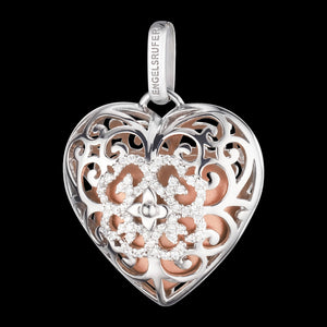ENGELSRUFER SILVER ROSE GOLD CZ HEART SOUNDBALL PENDANT