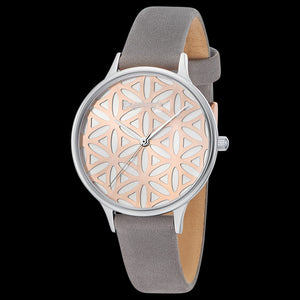 ENGELSRUFER FLOWER OF LIFE SILVER ROSE GOLD WATCH - ANGLE VIEW