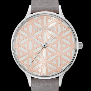 ENGELSRUFER FLOWER OF LIFE SILVER ROSE GOLD WATCH - DIAL CLOSE-UP