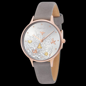 ENGELSRUFER TREE OF LIFE ROSE GOLD LEATHER WATCH - ANGLE VIEW