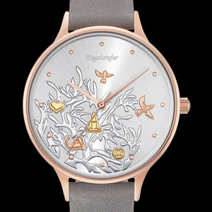 ENGELSRUFER TREE OF LIFE ROSE GOLD LEATHER WATCH - DIAL CLOSE-UP