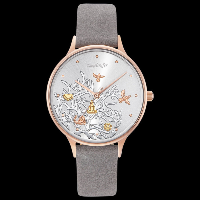 ENGELSRUFER TREE OF LIFE ROSE GOLD LEATHER WATCH