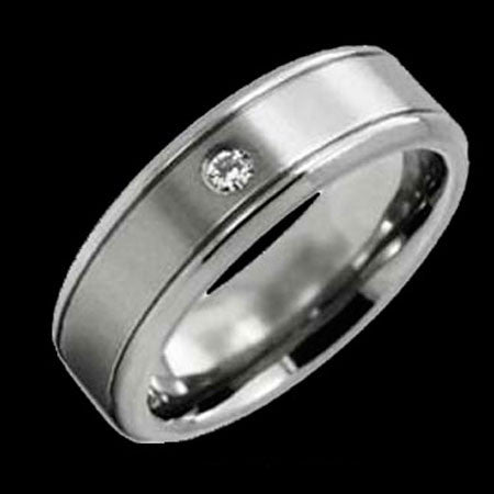 TITANIUM SOLITAIRE CZ BAND RING