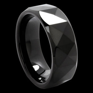 TUNGSTEN MEN'S DIAMOND CUT BLACK RING