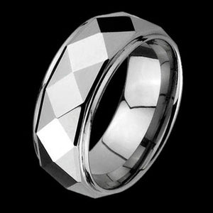 TUNGSTEN CARBIDE ROUNDED DIAMOND CUT RING