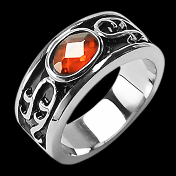 STAINLESS STEEL CARNELIAN STONE POWER RING