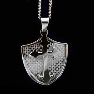 STAINLESS STEEL KNIGHT'S SHIELD CROSS NECKLACE
