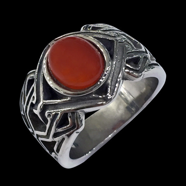 STAINLESS STEEL CARNELIAN STONE CELTIC RING