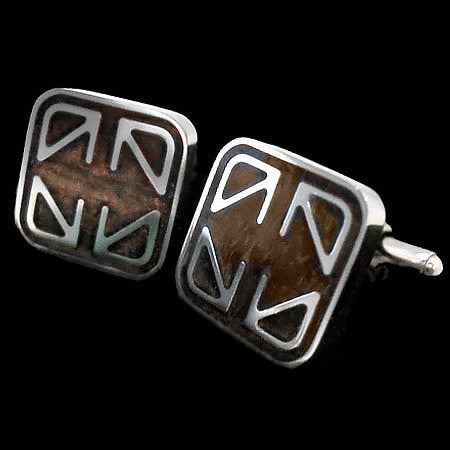 STAINLESS STEEL WOOD INLAY CUFFLINKS