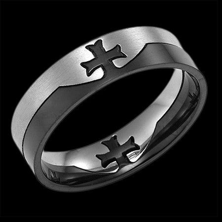 STAINLESS STEEL MEN'S KNIGHT'S CROSS PUZZLE RING