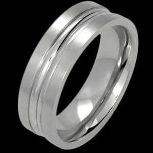 STAINLESS STEEL DUAL CHANNEL BAND RING