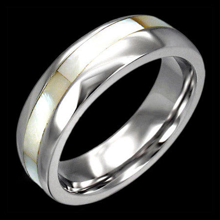 STAINLESS STEEL MOTHER OF PEARL INLAY RING